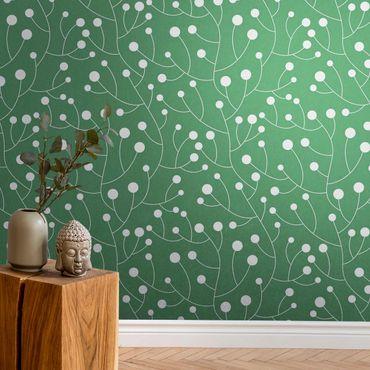 Metallic Tapete  - Natürliches Muster Wachstum mit Punkten auf Grün