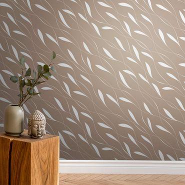 Metallic Tapete  - Natürliches Muster Windhauch auf Beige