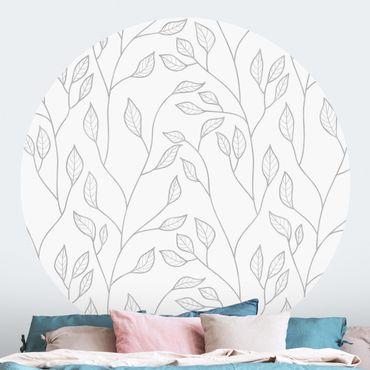 Runde Tapete selbstklebend - Natürliches Muster Zweige mit Blättern in Grau