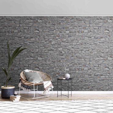 Metallic Tapete  - Naturstein Tapete Alte Steinmauer