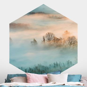 Hexagon Mustertapete selbstklebend - Nebel bei Sonnenaufgang