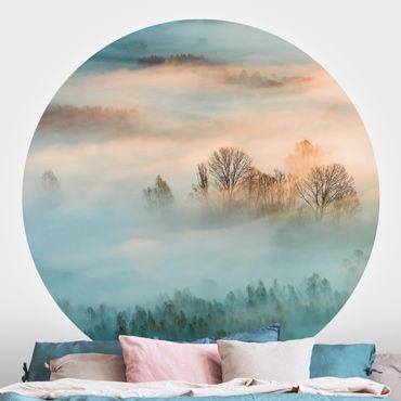Runde Tapete selbstklebend - Nebel bei Sonnenaufgang