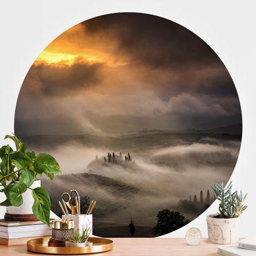 Runde Tapete selbstklebend - Nebelwellen