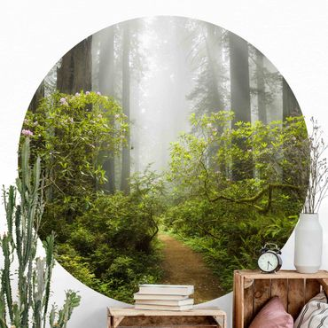 Runde Tapete selbstklebend - Nebliger Waldpfad