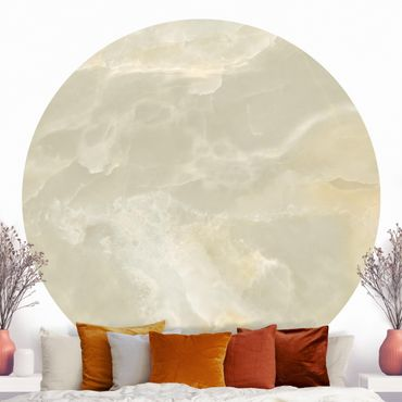 Runde Tapete selbstklebend - Onyx Marmor Creme