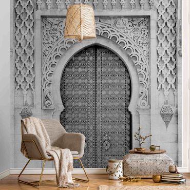 Metallic Tapete  - Oriental Gate Schwarz-Weiß