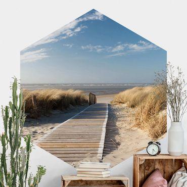 Hexagon Mustertapete selbstklebend - Ostsee Strand