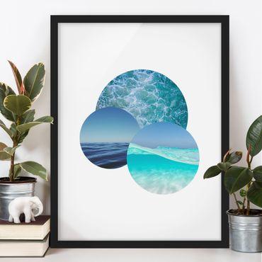 Bild mit Rahmen - Ozeane im Kreis - Hochformat