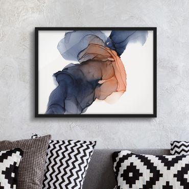 Bild mit Rahmen - Ozeantropfen Blau-Orange mit Gold - Querformat
