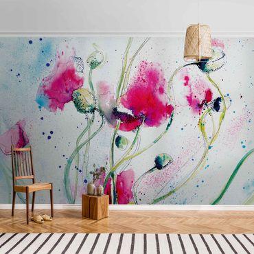 Metallic Tapete  - Painted Poppies