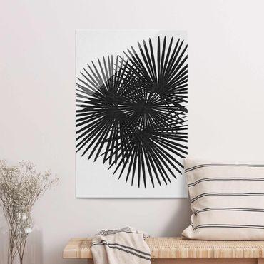 Glasbild - Palmenfarne in Schwarz-Weiß - Hochformat