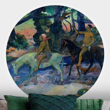 Runde Tapete selbstklebend - Paul Gauguin - Die Flucht