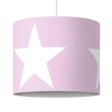 Hängelampe - Große Weiße Sterne auf Rosa