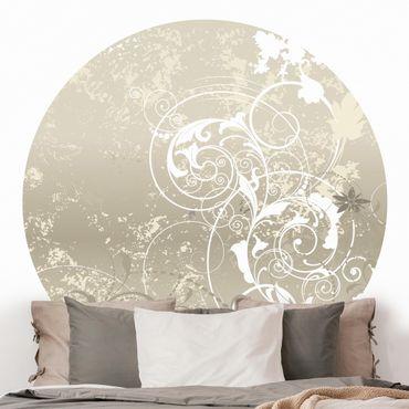 Runde Tapete selbstklebend - Perlmutt Ornament Design