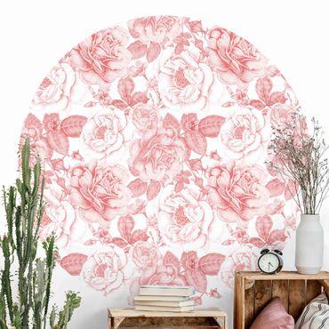 Runde Tapete selbstklebend - Pfingstrosen Pattern Rosa