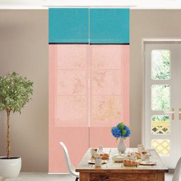 Schiebegardinen Set - Pfirsichfarbende Tiefe - Flächenvorhang