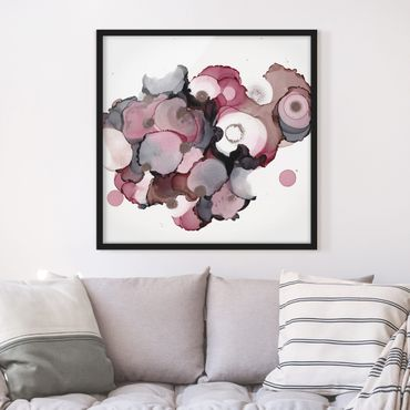 Bild mit Rahmen - Pink-Beige Tropfen mit Roségold - Quadrat