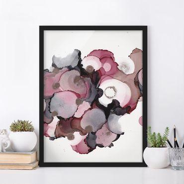 Bild mit Rahmen - Pink-Beige Tropfen mit Roségold - Hochformat