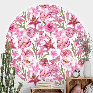 Runde Tapete selbstklebend - Pinke Blumen mit Schmetterlingen