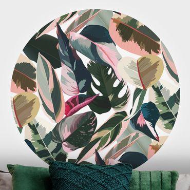 Runde Tapete selbstklebend - Pinke Tropen Muster XXL