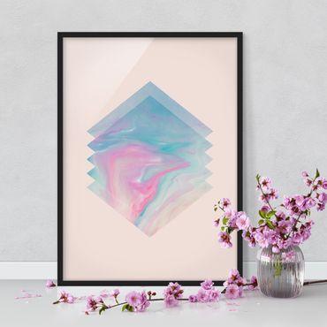 Bild mit Rahmen - Pinkes Wasser Marmor - Hochformat