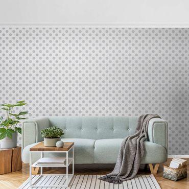 Metallic Tapete  - Punkte Grau auf Weiß