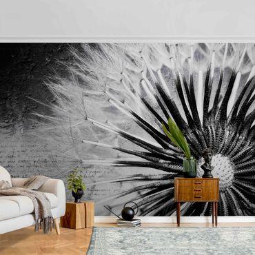 Metallic Tapete  - Pusteblume Schwarz & Weiß