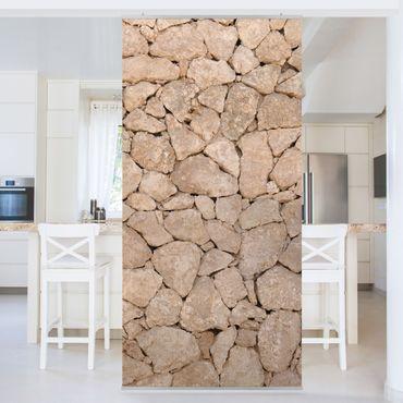 Raumteiler - Apulia Stone Wall - Alte Steinmauer aus großen Steinen 250x120cm