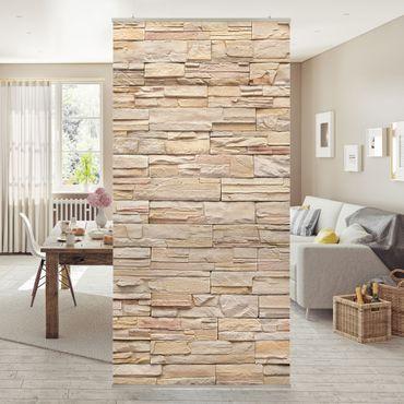 Raumteiler - Asian Stonewall - Große helle Steinmauer aus wohnlichen Steinen 250x120cm