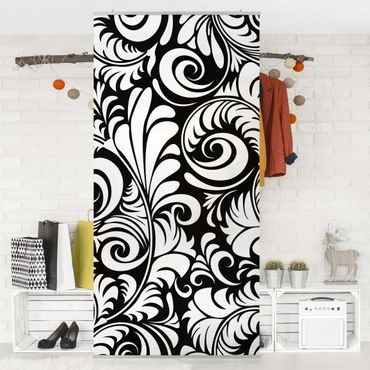 Raumteiler - Black and White Leaves Pattern 250x120cm