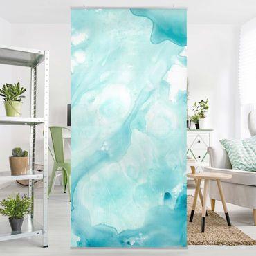 Raumteiler - Emulsion in weiß und türkis I - 250x120cm