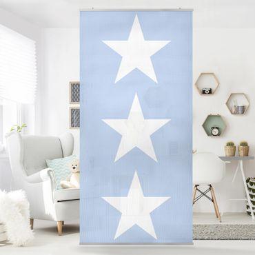 Raumteiler - Große Weiße Sterne auf Blau 250x120cm