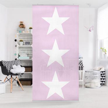 Raumteiler - Große Weiße Sterne auf Rosa 250x120cm
