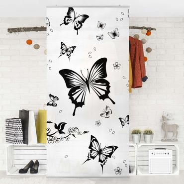 Raumteiler Kinderzimmer - Blumen und Schmetterlinge 250x120cm
