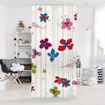 Raumteiler Kinderzimmer - Floral Pattern 250x120cm