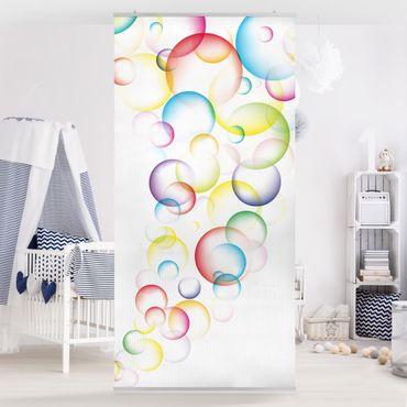 Raumteiler Kinderzimmer - Rainbow Bubbles 250x120cm