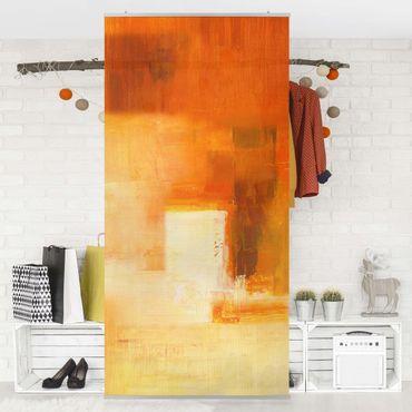 Raumteiler - Petra Schüßler - Komposition in Orange und Braun 03 250x120cm