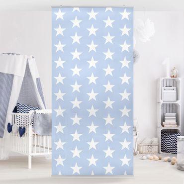 Raumteiler - Weiße Sterne auf Blau 250x120cm