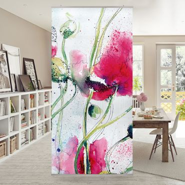 Raumteiler - Painted Poppies 250x120cm