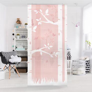 Raumteiler - Rosa Birkenwald mit Schmetterlingen und Vögel 250x120cm