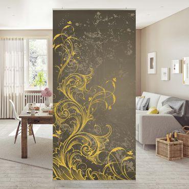 Raumteiler - Schnörkel in Gold und Silber 250x120cm