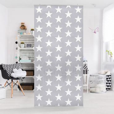 Raumteiler - Weiße Sterne auf grauen Hintergrund 250x120cm