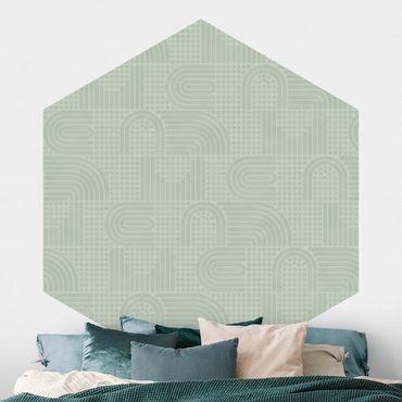 Hexagon Mustertapete selbstklebend - Regenbogen Muster in Salbei