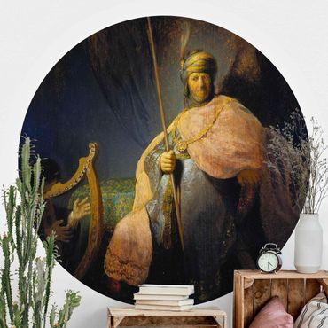 Runde Tapete selbstklebend - Rembrandt van Rijn - David spielt Harfe