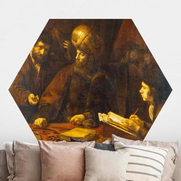 Hexagon Mustertapete selbstklebend - Rembrandt van Rijn - Gleichnis von Arbeitern