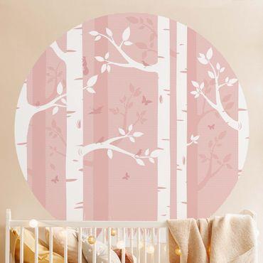 Runde Tapete selbstklebend - Rosa Birkenwald mit Schmetterlingen und Vögel