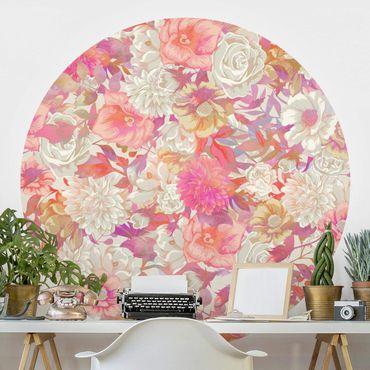 Runde Tapete selbstklebend - Rosa Blütentraum mit Rosen