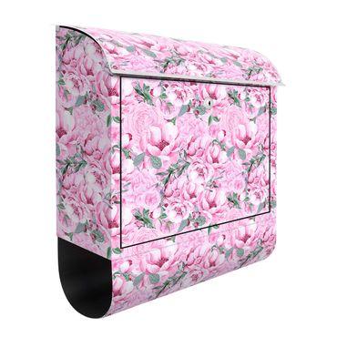 Briefkasten - Rosa Blütentraum Pastell Rosen in Aquarell