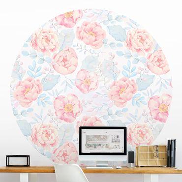 Runde Tapete selbstklebend - Rosa Blumen mit Hellblauen Blättern