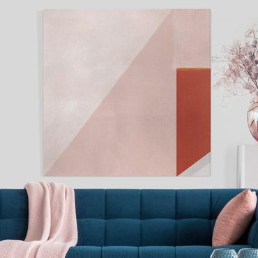 Leinwandbild - Rosa Geometrie - Quadrat 1:1